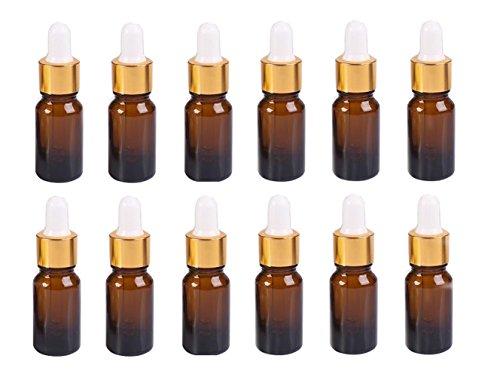 Ericotry 12 Pcs 5 ML Vide Rechargeables Ambre Verre Dropper Bottles- Maquillage de Parfum d'huile Essentielle échantillons de conteneurs de Voyage ave