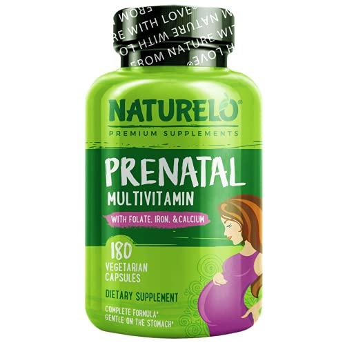 NATURELO Prenatal Multivitamin with Gentle Chelated Iron, Methyl Folate, Plant Calcium & Choline - Vegan, Vegetarian - Non-GMO - Gluten Free - 180 Capsules   2 Month Supply