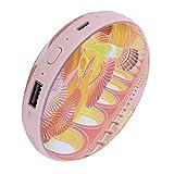 Pinsofy Calentadores de Manos eléctricos, Mini Calentador de Bolsillo portátil multifunción con batería, Recargable para Mujeres(Golden Bird Flying Rainbow)