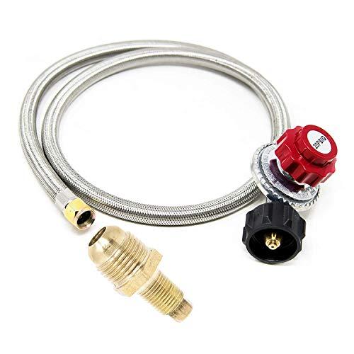 GasOne 2113+50105 4 ft Regulator and Propane Brass Orifice, Steel Braided Hose