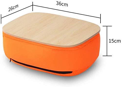 WGG Tafel Thuis Bamboe Lap Bureau met Laptop Opbergruimte | Kussen Gewatteerde Laptop Accessoires Boekstandaard | Geweldig voor Bed Bank Bank Stoel | Voedsel dienblad | Grijs ORANJE