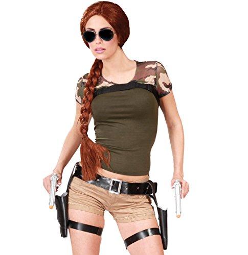 Ceinture Lara Croft Double Holster avec Pistolets, Gris, Taille unique