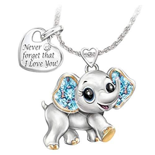 Atcool Necklaces Women Ladies Pendant Necklaces Sweet Elephant Anniversary Gift, Never Forget That I Love You, Diamond-Studded Pendant Jewelry (Blue)