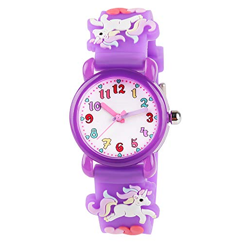 Venhoo Kids Watches 3D Cartoon Waterproof Silicone Children Toddler Wrist Watch for 3-10 Year Girls Little Child-Purple Unicorn