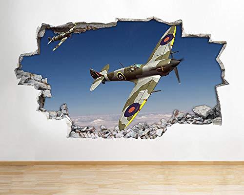 Z084 Spitfire Hurrikan Flugzeug Armee Jungen Wandtattoo Poster 3D Kunst Aufkleber Kinder Schlafzimmer Baby Kindergarten Poster Wohnzimmer Jungen Mädchen Wandbild
