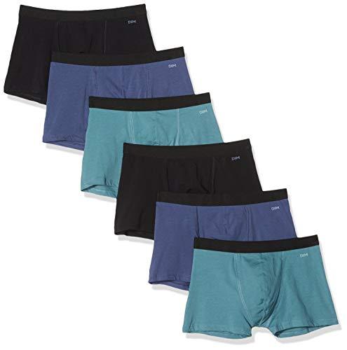 Dim Ecodim Colorama, Boxers Homme, Multicolore (Noir/Bleu Orage/Vert Palme/Vert Palme/Bleu Orage/Noir 96d), Medium, Lot de 6