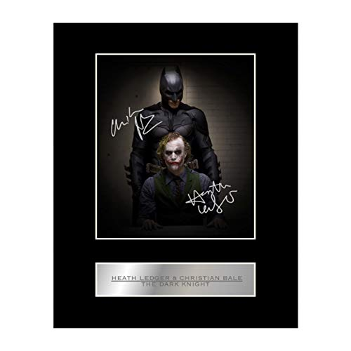 Heath Ledger und Christian Bale Signiert Foto Display The Dark Knight
