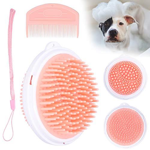 Cepillo para Perros, Cepillo de Doble Cara para Mascotas portátil para Cachorros para Gatos(Pink)
