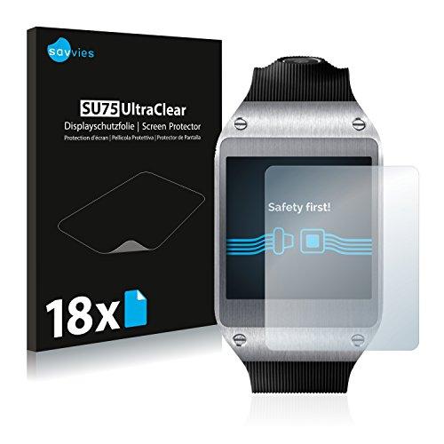 Savvies 18x Schutzfolie kompatibel mit Samsung Galaxy Gear V700 Displayschutz-Folie Ultra-transparent