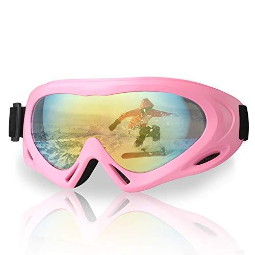 Fengzio Skibril, voor kinderen, snowboardbril, UV400-bescherming, snowboardbril, anti-sneeuwbril voor skiën, skaten, snowboarden, skioggles met ademend schuim, voor kinderen van 6-16 jaar
