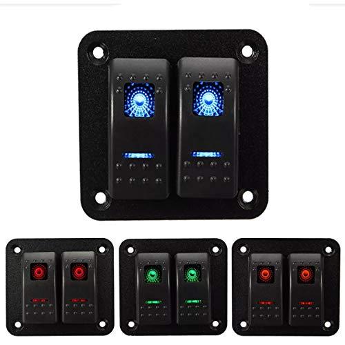 ywzhushengmaoyi Pompe Electrique 12V 24V 2 Gang IP65 Raincoat LED Voiture Camion Maritime Bateau RV Rocker Switch Panel gonfleur Electrique Ballon (Color : Green)