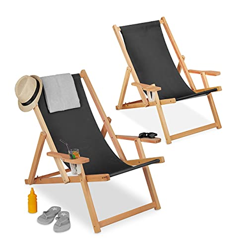 Relaxdays Liegestuhl Holz, klappbarer...