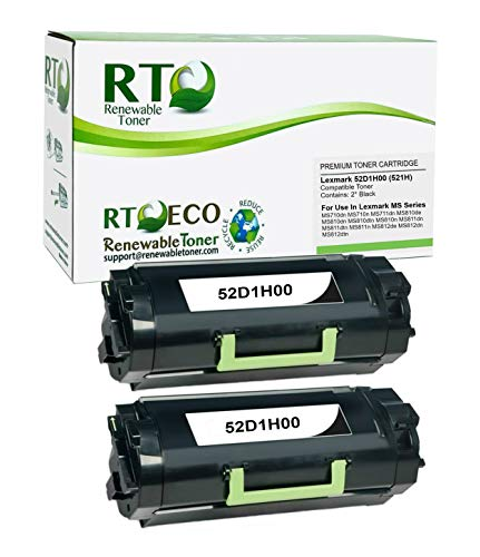 Renewable Toner Compatible High Yield Toner Cartridge Replacement for Lexmark 521H 52D1H00 MS710 MS711 MS810 MS811 MS812 (Black, 2-Pack)