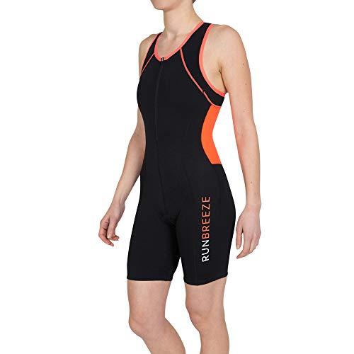 RunBreeze Damen Triathlon Anzug | Atmungsaktiver, schnell trocknender Tri-Anzug mit Rückentaschen (Schwarz/Orange, M / EU 38-40)