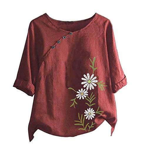 neiabodos Blusa de manga corta para mujer de verano de algodón y lino estampada a la moda blusa casual cuello camiseta con botones de manga corta deportiva alentada y transpirable Blouse