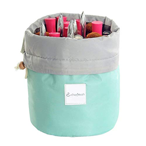 Charyeah Waterproof Cosmetic Bags Makeup Bag Travel Barrel Cases Kit Organizer Bathroom Storage Carry Case Toiletry Bags Multifunctional Bucket Toiletry Bag Polyester 300T (Blue)