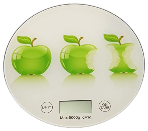 Sam for You, bilancia da cucina rotonda digitale, pesa fino a 5 kg, bilancia alimentare, scala alimentare, funzione tara, batteria inclusa (mela)