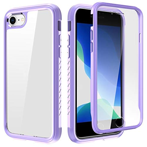 Dmtrab para Para iPhone SE 2020/8/7 TPU de Choque TPU Frame + Clear PC Back Case + Front Pet Screen Film (Green) (Color : Light Purple)