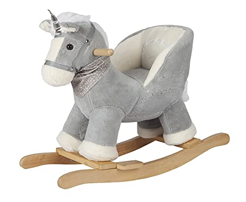 Rock My Baby Baby Rocking Unicorn Gray with Chair, Plush Stuffed Rocking Pony, Wooden Rocking Toy Horse Baby Rocker Animal Ride on for Toddlers Girls and Boys Age 1 Year and Up (Gray Horse for 12m+)