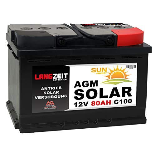 LANGZEIT AGM Batterie 80AH 12V Solarbatterie GEL Batterie Wohnmobil Boot Mover Versorgungsbatterie Solar Akku 70Ah 75Ah