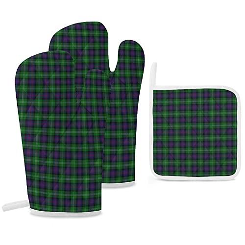 Clan Sutherland Lot de 3 maniques et maniques antidérapantes réutilisables pour cuisine, barbecue, grill
