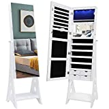 IWELL 8 LEDs Jewelry Cabinet Armoire with 47.3'H Full Length Mirror, Lockable Free Standing Jewelry Organizer with 3 Adjustable Angles, Large Capacity, Gift for Wife/Daughter/Mothers White