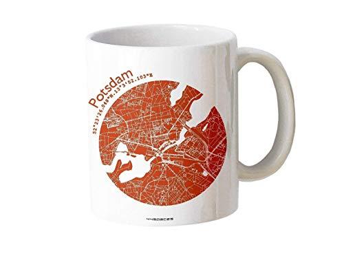 Tasse Potsdam - Bürotasse Kaffeebecher farbige Stadtkarte Städtetasse - Personalisierte Geschenkidee für Kollegen Kollegin Architekt Richtfest Fernweh Heimweh