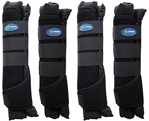 Professional Equine Horse 4-Pack Stable Shipping Boot Wraps Leg Care Black 4120BK