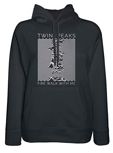LaMAGLIERIA Sudadera Mujer Twin Peaks Unknown Pleasure White Logo...