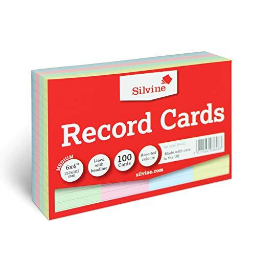 Silvine A6 Multi-Coloured Record Cards