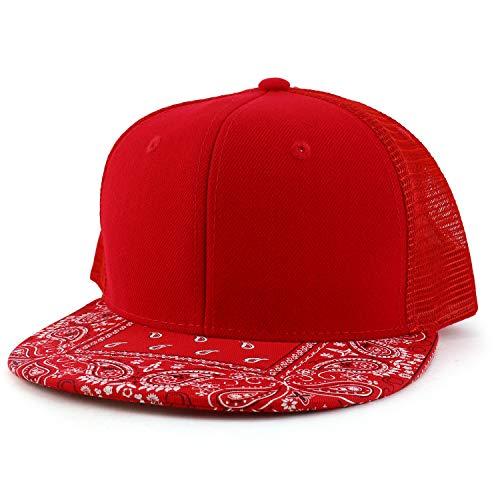 DECKY Paisley Bandana Print Flat Bill Trucker Mesh Snapback Cap - RED RED