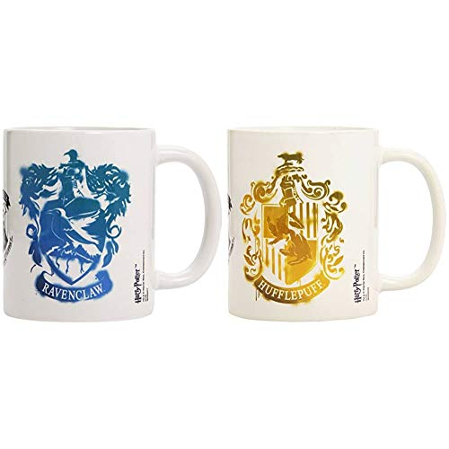 Pyramid International Harry Potter Taza Ravenclaw Stencil Crest, 320ml + Harry Potter Taza 320 Ml Hufflepuff Stencil Crest