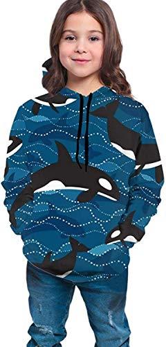 Niños niñas Sudaderas con Capucha de Lana Ocean Orcas Bolsillos Sudaderas Sudaderas con Capucha de Lana 7-20Y