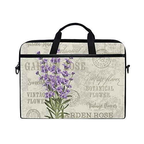 VICAFUCI New 15-15.4 Zoll Laptop Tasche,Umhängetasche,Handtasche,Weinlese-Postkarten-Aufbau mit Grunge Bildschirmanzeige und Blumen