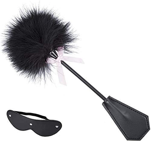 Huangte Leather Blindfold Set Feather Teaser Tickler Feather for Women Men Cosplay Props HDY0008