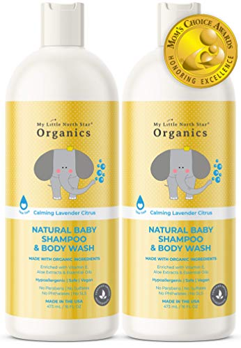 Organic Baby Shampoo & Body Wash - Tear-Free Shampoo for Toddlers & Kids - Chemical-Free Natural Soap - Made in the USA - Calming Lavender & Citrus Essential Oils 2-pack 16 oz 2 in 1