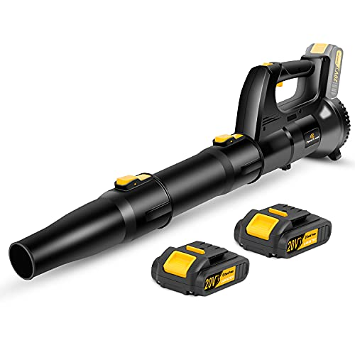 Cordless Leaf Blower, 20V Lawn Blower with 2 Batteries, Dual-Speed Settings, Quick Installation and 2-Section Tube Design, Charger Included, C P CHANTPOWER