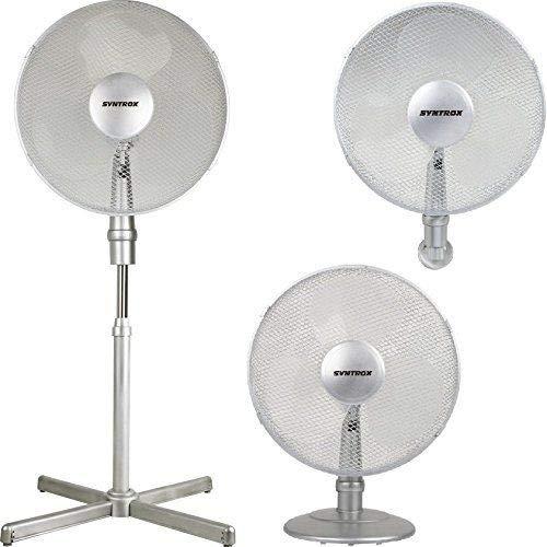 Syntrox Germany VT-44W-SI - Ventilatore assiale 3 in 1: a piantana, da tavolo e a parete, con oscillazione