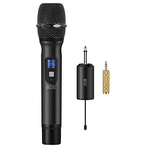 TONOR Microfono Wireless Micro senza Fili a 25 Canali UHF con Mini Ricevitore Portatile con 1/4' Output, Per Chiesa/Casa/Karaoke/Riunioni, Nero