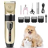 iThrough Maquina de Cortar Pelo para Perros, Cortapelos Perros y Gatos, Bajo Ruido Ajustable con 4 Peines, Kit de Corta Pelo para Perro Mascotas USB Recargable