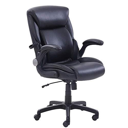HUIYUAN stoel draaibare computer stoel PU lederen opvulling bureaustoel Lumbar ondersteuning en actieve armleuningen 15° kantelfunctie Polyurethaan zwart lagergewicht 150kg