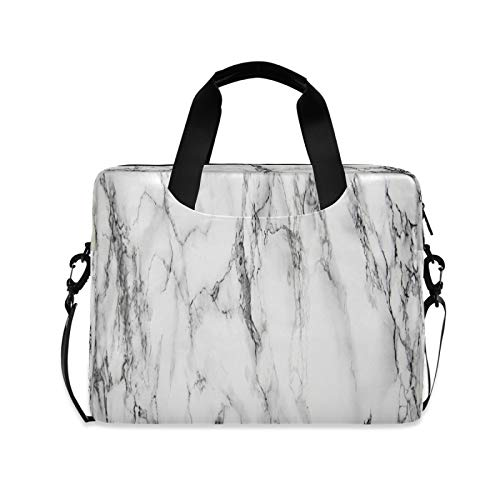 Computer Carrying Case for Adult Kids Laptop Bag Gray Marble Computer Bags 13-15.6 inch Laptop Sleeve Case Laptop Shoulder Bag Laptop Carrying Bag with Strap Handle