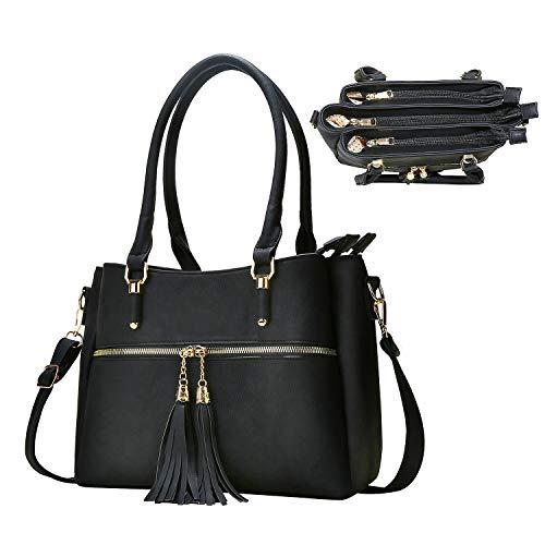 Women Satchel Bags Handle Shoulder Handbags and Purses Pockets Zipper Leather Crossbody Bags