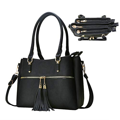 Women Satchel Bags Handle Shoulder Handbags and Purses Pockets Zipper Leather Crossbody Bags