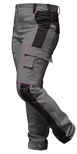 strongAnt - Damen Arbeitshose komplett Stretch Schwarz Grau Pink für Frauen Bundhose mit Kniepolstertaschen - Made in EU -Grau-Schwarz 36