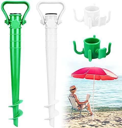 Beabro 2 Pezzi Picchetto di Supporto per ombrellone Mare Spiaggia Vacanze Sole Giardino Punta Terra Sabbia Trivella Supporto Plastica Porta ombrellone da Spiaggia