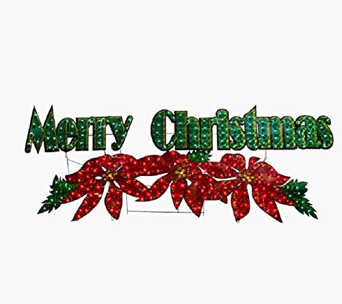 Holiday Home 72' Lighted Poinsettia Merry Christmas Sign Outdoor Christmas Yard Decor Lawn