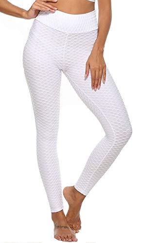 UMIPUBO Pantalones de mujer deportivos anticelulitis, cintura alta, para gimnasio, fitness, pantalones push up y yoga, pantalones con control de la barbilla, elásticos blanco M