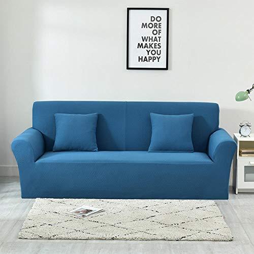 Funda de Sofá Poliéster,Funda de sofá jacquard gruesa de color puro, funda protectora de muebles antideslizante elástica, funda de cojín antiincrustante para sofá de sala de estar-Denim Blue_235-300c