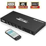 HDMIマトリックス 4入力4出力 HDMIスイッチ 4ポート HDMI切替分配機 4×4 HDMI Matrix 4K30HZ、HDCP、Dolby AC3 対応 RS232 IRリモートコン スマートEDID機能搭載で XBOX360/HDTV/STB/DVD/プロジェクター/DVR/PS3に対応 TESmart (黒)
